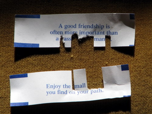 Foruntes: A good friendship is often more important than a ass man. / Enjoy the mall you find on your path.